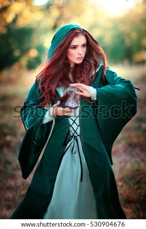 Beautiful Red Haired Girl Green Medieval Stock Photo