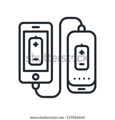 Power Bank Battery Phone Charger Minimalistic Stock Vector