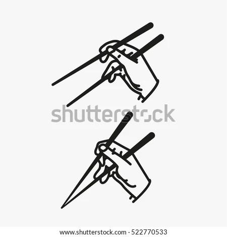 Sushi Chopsticks Hand Minimalistic Flat Line Stock Vector