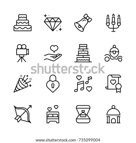 Wedding Ceremony Icons Set Vector Stock Vector 280858517