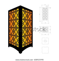 Cut Out Template Lamp Candle Holder Stock Vector 608926112 ...