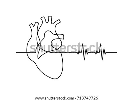 Continuous Line Drawing Heart Heartbeat On Stock Vector