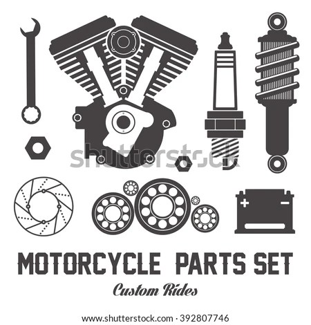 Motorcycle Parts Items Vector Flat Set Stock Vector