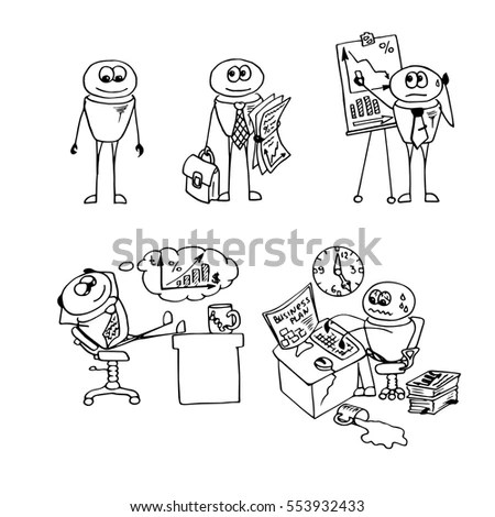 Funny Doodle Office Workers Business Plan Stock Vector