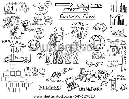 Business Doodles Sketch Set Infographics Elements Stock