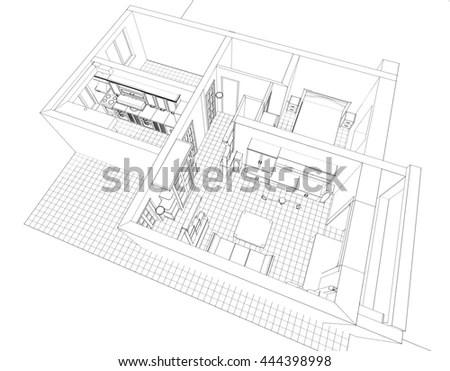 Blueprint Plan School Building Third View Stock Vector