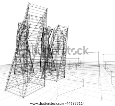 Abstract Architecture Buildings Stock Illustration