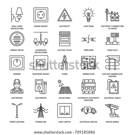 Electricity Engineering Vector Flat Line Icons Stock