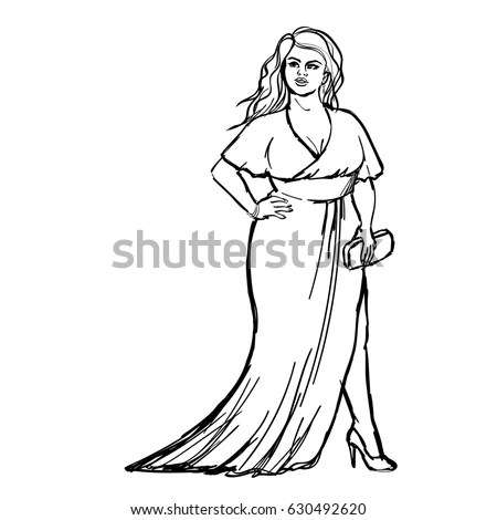 Fashion Sketch Plus Size Model Evening Stock Vector