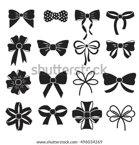 Holiday Gift Christmas Bows Vector Set Stock Vector