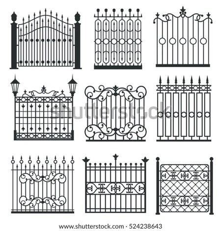 Metal Iron Gates Grilles Fences Ornamental Stock