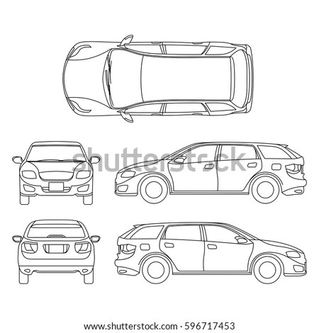 Line Drawing Car White Vehicle Vector Stock Vector