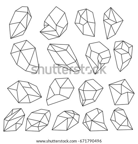 Diamond 3d Shapes Natural Crystals Outline Stock Vector