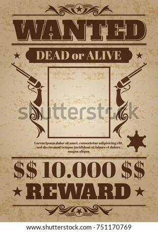 Vintage Wanted Western Poster Blank Space Stock