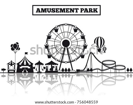 Amusement Park Black Silhouette Banner Poster Stock Vector