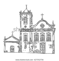 building church medieval drawing vector hand illustration shutterstock historical preview