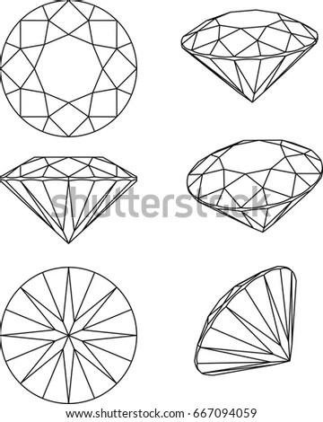 Diamond Line Vector Plan View Isometric Stock Vector