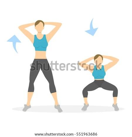 Squats Exercise Legs On White Background Stock Vector 551963686 - Shutterstock