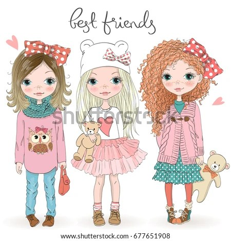 Three Hand Drawn Beautiful Cute Cartoon Stock Vector