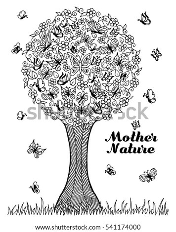 Black White Image Knowledge Tree Stock Vector 440385640
