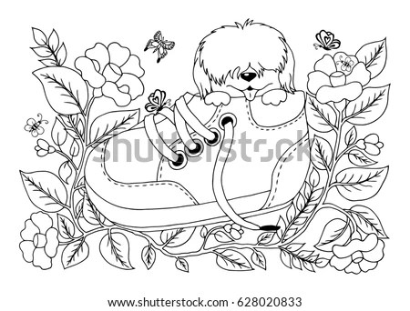 Vector Illustration Zentangl Shaggy Puppy Sitting Stock