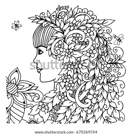 Abstract Woman Profile Flowers Black White Stock Vector