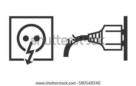 Vector Isolated Icons Power Socket Damaged Stock Vector