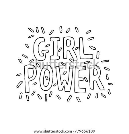 Girl Power Hand Lettering Vector Black Stock Vector