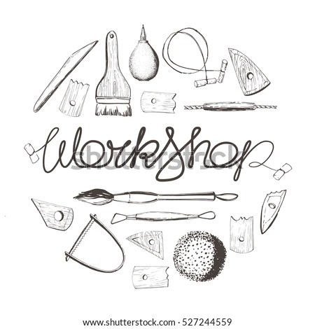 Pottery Workshop Tools Sculpting Working Clay Stock Vector