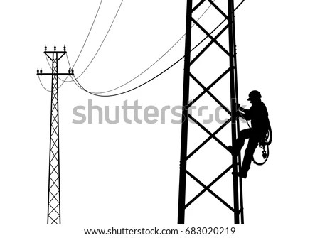 Electrician Climbing Tower Against Sunset Black Stock