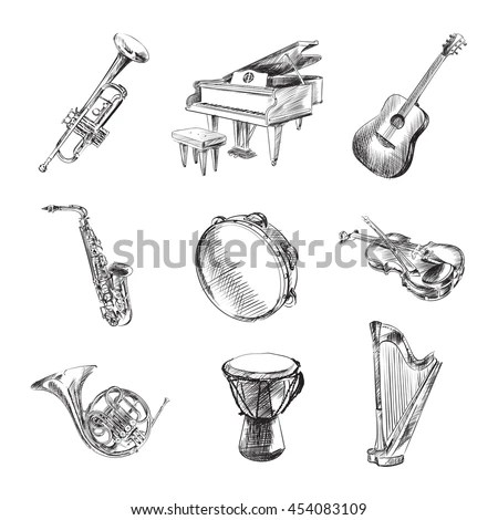 Musical Instruments Set Vector Illustration Sketches Stock