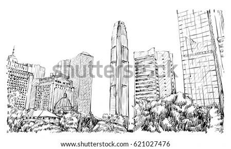 Sketch Cityscape Hong Kong Show Ifc Stock Vector 621027476