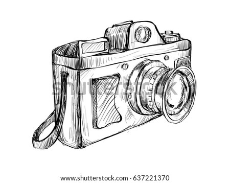 Sketch Vintage Camera Show Outline Drawing Stock Vector