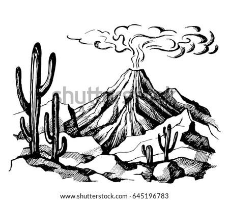 Vector Sketch Landscape Volcanic Eruption Cacti Stock