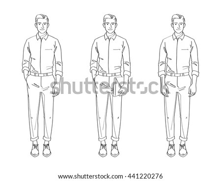 Line Drawing Illustration Handsome Young Man Stock Vector
