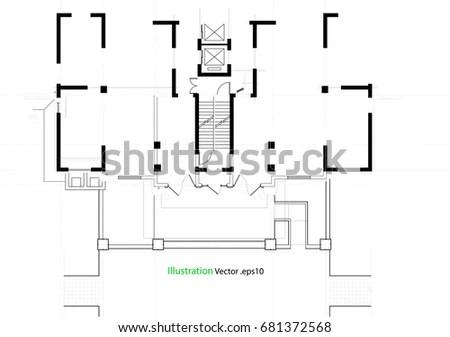 Set Groundfloor Blueprints Vector Illustration Stock