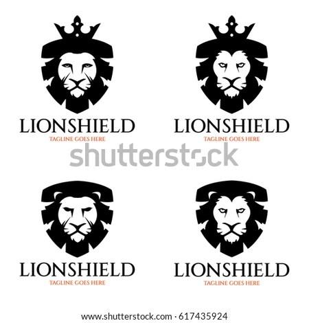 Lion Shield Logo Design Template Lion Stock Vector