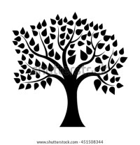 Black Tree Silhouette Isolated On White Stock Vector ...