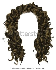 trendy woman curly long hair realistic