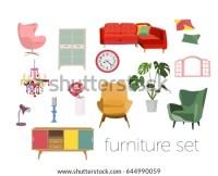 Living Room Furniture Set Vector Mid Stock Vector ...