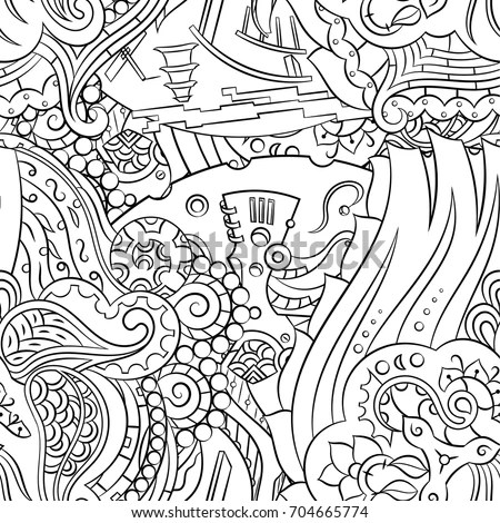 Winter Girl Adult Coloring Book Page Stock Vector