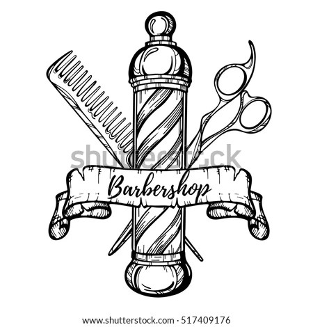 Hand Drawn Barbershop Vintage Illustration Hair Stock