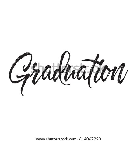 Graduation Text Design Vector Calligraphy Typography Stock