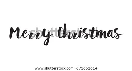 Merry Christmas Text Greeting Card Banner Stock Vector