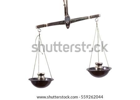 Unbalanced Scales Isolated On White Background Stock Photo