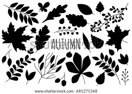Birch Tree Fall Wallpaper Autumn Set Twig Leaf Silhouettes Decorative Stock Vector