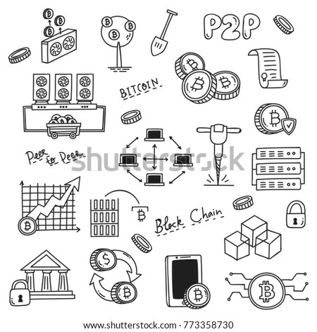 Set Doodle Related Bitcoin Crypto Currency Stock Vector