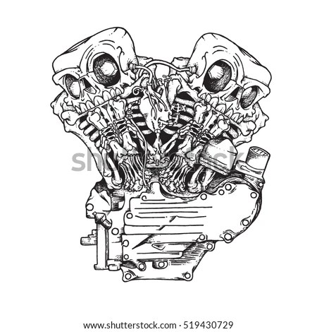 Knuckle Twin Motorcycle Engine Handcrafted Mascot Stock
