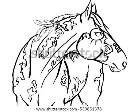 Horse Head Coloring Page Stock Photos, Royalty-Free Images