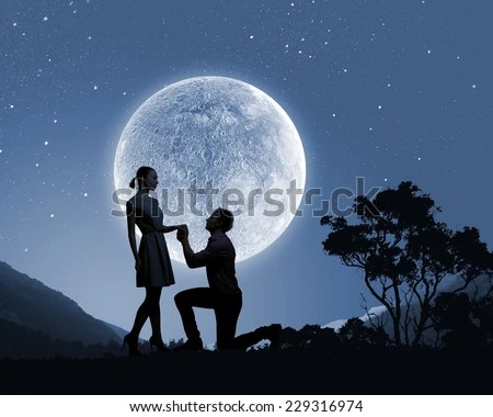 Download Silhouette Couple Kissing Under Full Moon Stock Photo ...